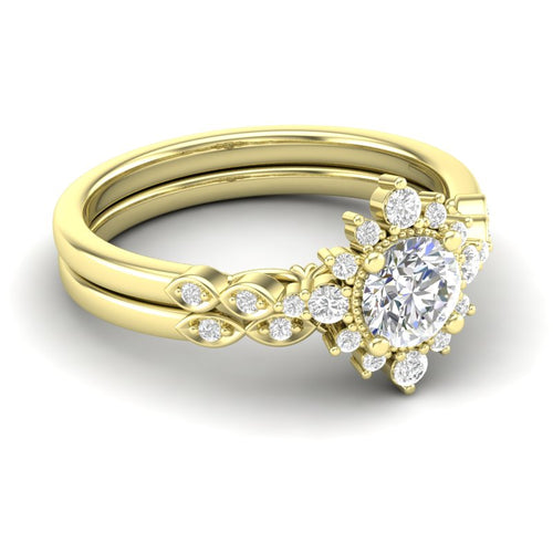 Yellow Gold Sunburst Halo Bridal Set