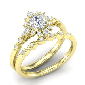 Home Try On--Yellow Gold Sunburst Halo Bridal Set