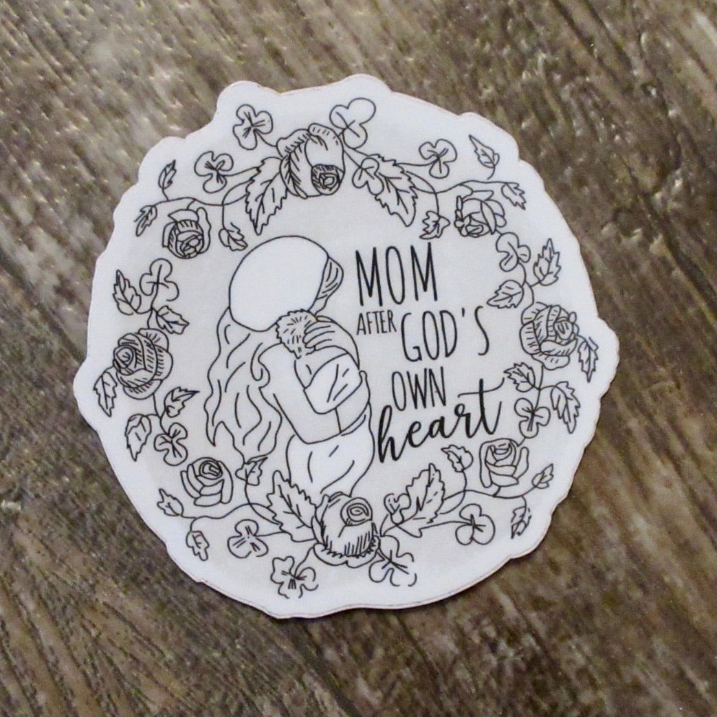 Mom After God's Own Heart Sticker