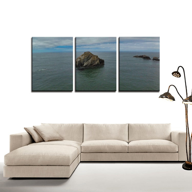 Face Rock Aerial 3 Panels Canvas Prints Wall Art for Wall Decorations