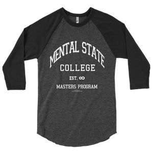 MENTAL STATE COLLEGE GREY/GREY 3/4 sleeve raglan shirt