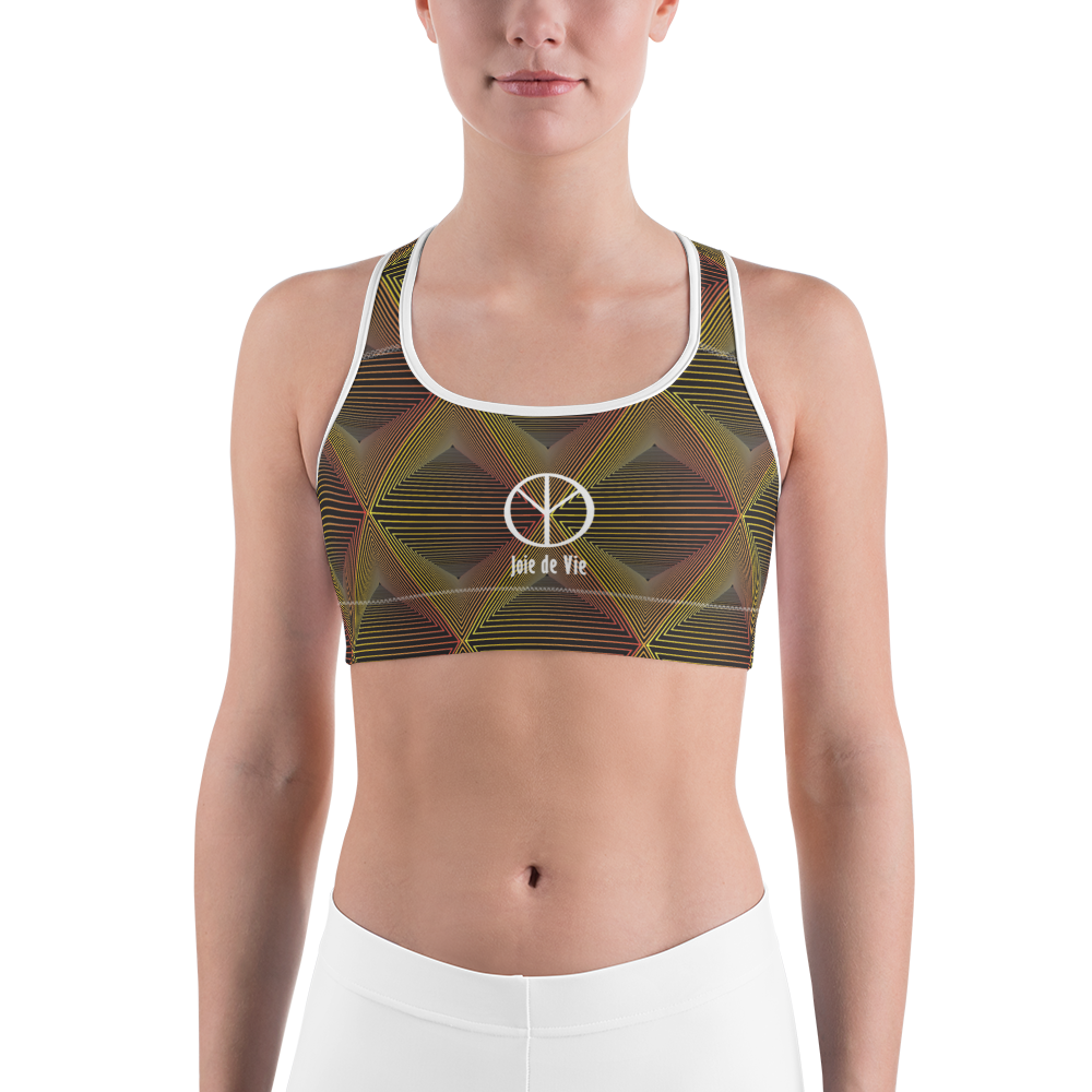 Joie de Vie and Love [Kanji] Sports bra on Black background
