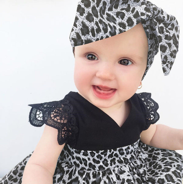 Leopard Fly Lace Sleeve Pageant Tutu Dresses + Headband 2pcs - Match it! Family Boutique