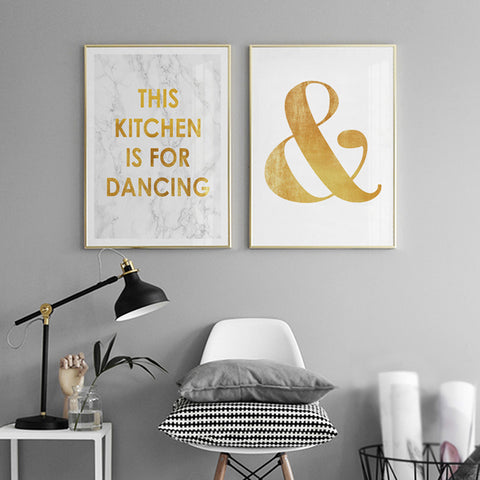 Nordic Marble and Gold Letter Wall Art Canvas