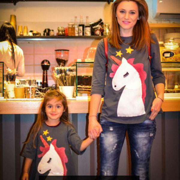 Mother And Daughter Unicorn Embroidery Tee - Match it! Family Boutique