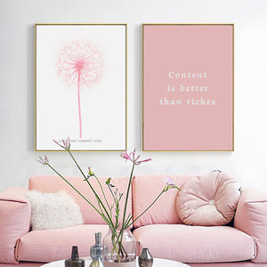Minimal and Pink Wall Art Deco