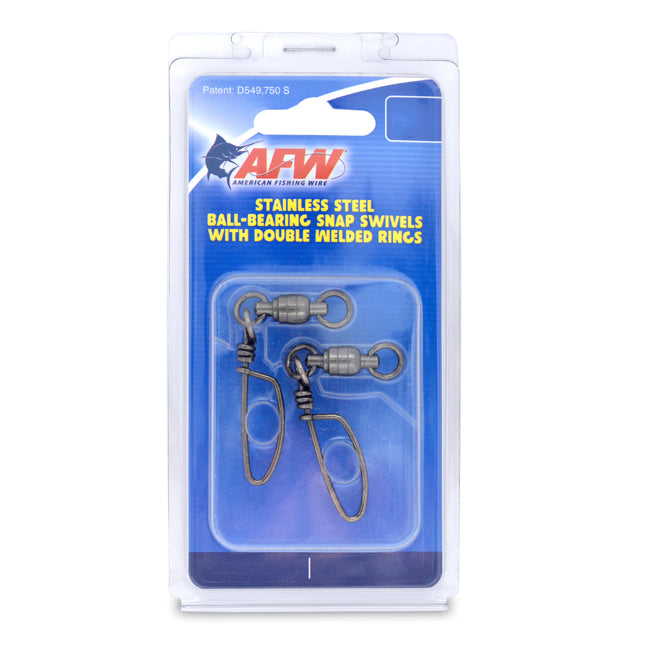 AFW Stainless Steel Ball Bearing Snap Swivels w/ Double Welded Rings