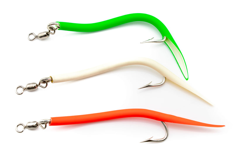 """John Deere//Green Blue Water Candy Rock Fish Candy 9/"""" Shad Bodies 12-Pack"""