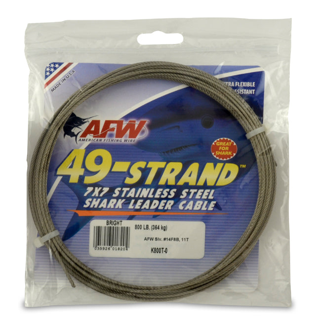 AFW 49 Strand Stainless Steel Cable Leader Material - 30 ft. Coils
