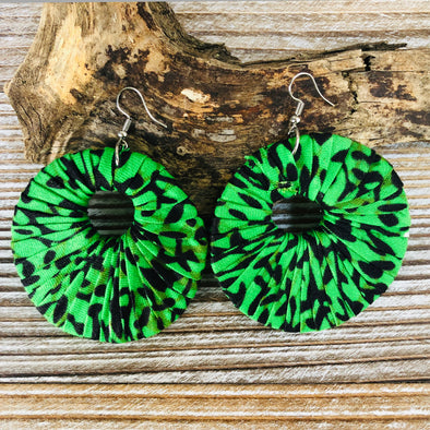 Large Round Ankara Earrings (Multicolor - Green and black)