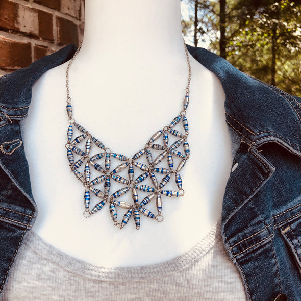 Grace Handmade Intricate Beaded Bib Design and Earrings Set (Metal Foil Silver and Navy Blue)