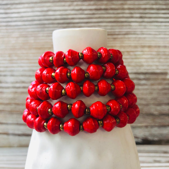 Kyendi Stackable Beaded Stretch Bracelets (Red)