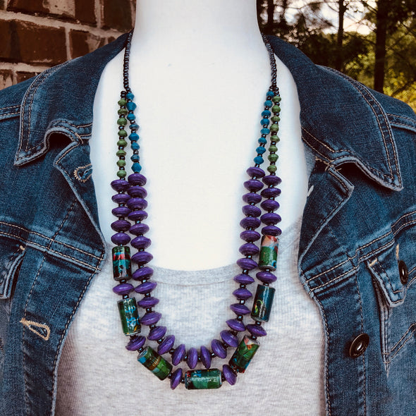 Kakobe Handmade Beaded Necklace in Purple and Funky Colors (Select 3 color choices)