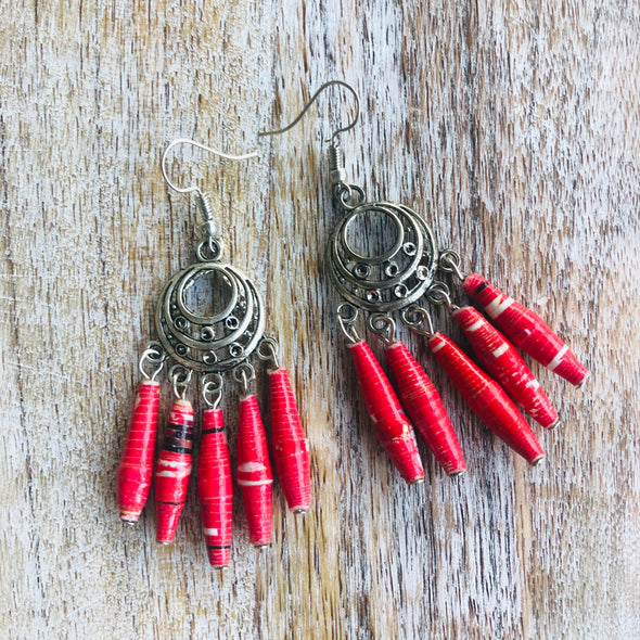 Dangling Handmade Beaded Chandelier Earrings (5 Beads in Red)