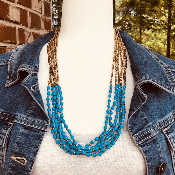 Musana Handmade Multi Strand Beaded Necklace (Bright Blue with Gold Seed Beads, 6 Strands)