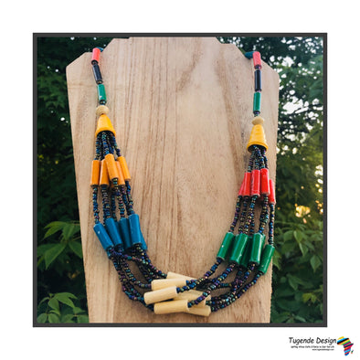 Kyenvu Handmade Beaded Offset Multistrand Necklace in a Bold Color Combination