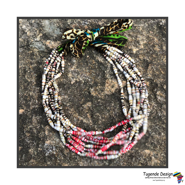 Okusiba Handmade Beaded Multi Strand Necklace with Ankara Fabric (Available in 3 Colors)