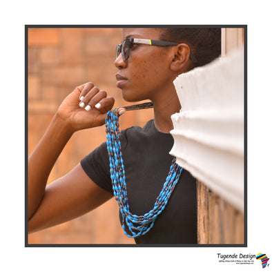 Bulule Handmade Beaded Multistrand Necklace in Lots of Blue