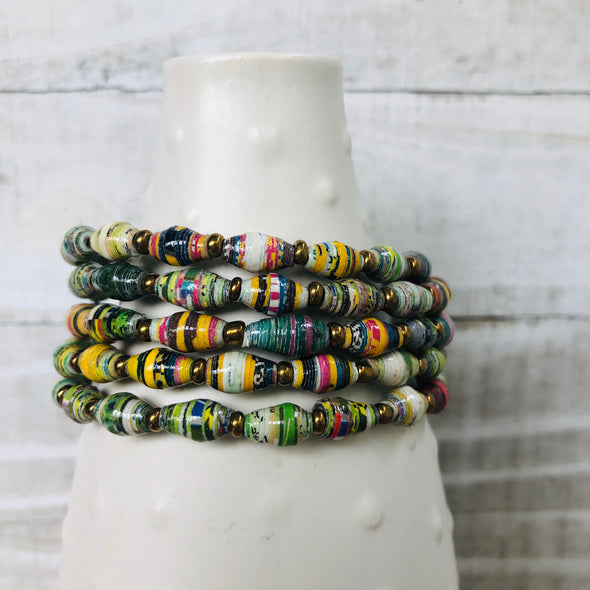 Colorful Cuff Beaded Memory Wire Bracelet (Green Multicolor)