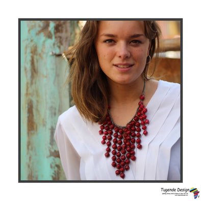 Kinyuma Bold Handmade Beaded Bib Style Necklace (available in 5 colors)