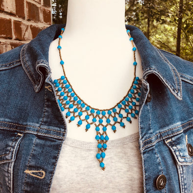 Akaama 1 Handmade Intricate Beaded Bib Necklace (Bright Blue)