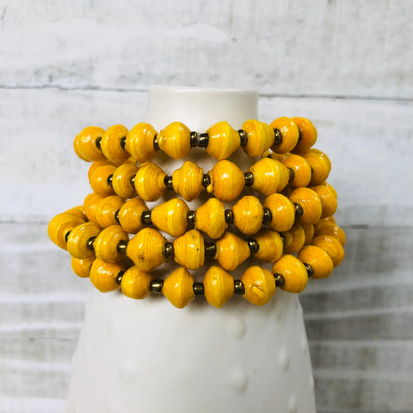 Colorful Cuff Beaded Memory Wire Bracelet (Sunny Yellow)