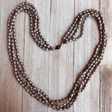 Mbale Handmade Multi Strand Beaded Monochromatic Necklace (2 Colors)