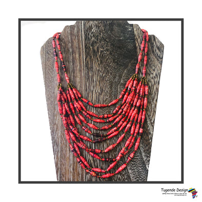 Safi Handmade Gorgeous Beaded Layered Necklace (Available in Red, Blue or Yellow)