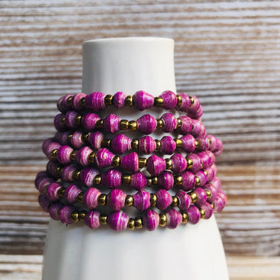 Kyendi Stackable Beaded Stretch Bracelets (Purple)