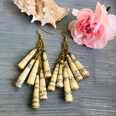 Dangling Handmade Beaded Earrings (6 Large Cone Beads in Book Pages/Cream/Text)