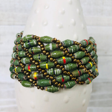 Large Colorful Cuff Beaded Stretch Bracelet (Moss Green)