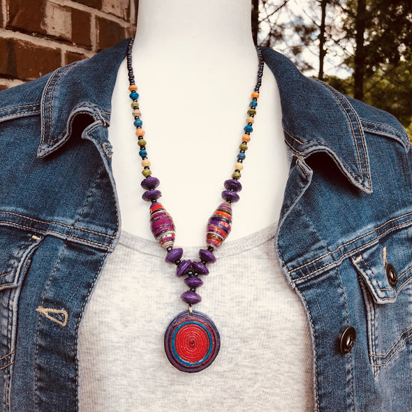 Nzuri Handmade Beaded Colorful Bohochic Necklace with Pendant (5 color choices in jeweltones)