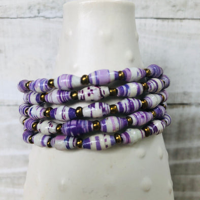 Colorful Cuff Beaded Memory Wire Bracelet (Purple)