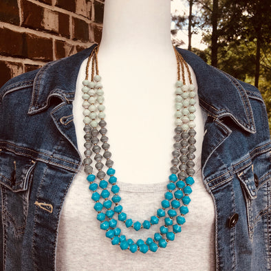 Ssatu Handmade Beaded Multi Strand Tri-Colored Necklace (Baby Blue, Gray, Bright Blue)