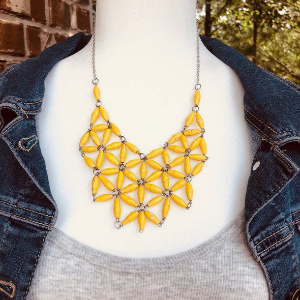 Grace Handmade Intricate Beaded Bib Design and Earrings Set (Bright Yellow)