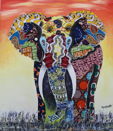 Painting of the Majestic Elephant: Mixed Media (African Print Fabric & Acrylic on Canvas- Orange Background)