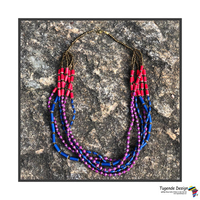 Mapenzi Handmade Beaded Multistrand Necklace in a Bold Color Combination (Blue, Red, Purple)