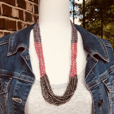 Unique Signature Handmade Beaded Multi Strand Necklace with Knot (Gray and Pink)