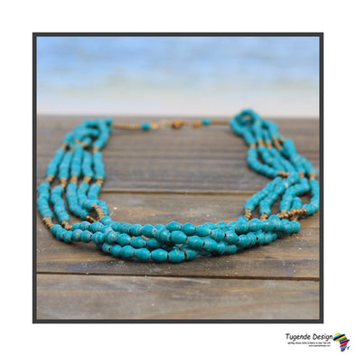 Nnyanja Elegant Handmade Beaded Multistrand Necklace (Turquoise or Cream)