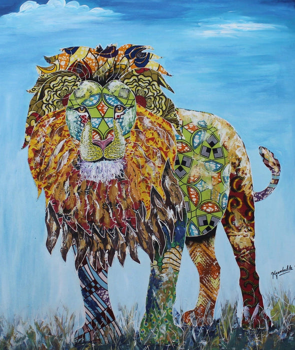 Painting of the King of the Jungle: Mixed Media (African Print Fabric & Acrylic on Canvas- Blue Background)