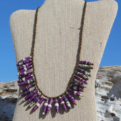 Asatu Handmade Beaded Bib Necklace in Pretty Purple