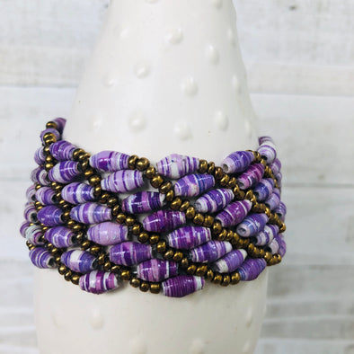Large Colorful Cuff Beaded Stretch Bracelet (Purple)
