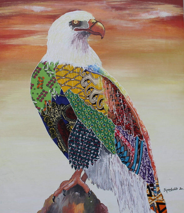 Painting of Stunning Eagle: Mixed Media (African Print Fabric & Acrylic on Canvas- Orange Background)