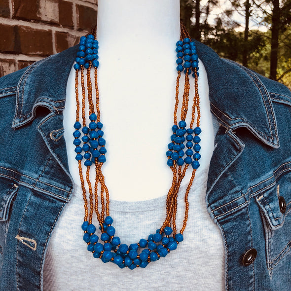 Mwattu Handmade Beaded Multi Strand Necklace (Available in 3 Colors)
