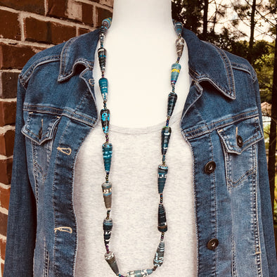 Gulu Handmade Single Strand Necklace with Chunky Paperbeads (Blue/Green with Text)