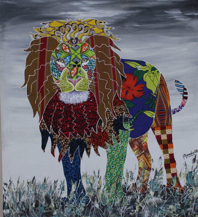Painting of the King of the Jungle: Mixed Media (African Print Fabric & Acrylic on Canvas- Gray Background)