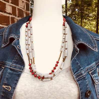 Otegeera Handmade Beaded Multi Strand Necklace Set with Earrings (Red or Black Accent Beads)