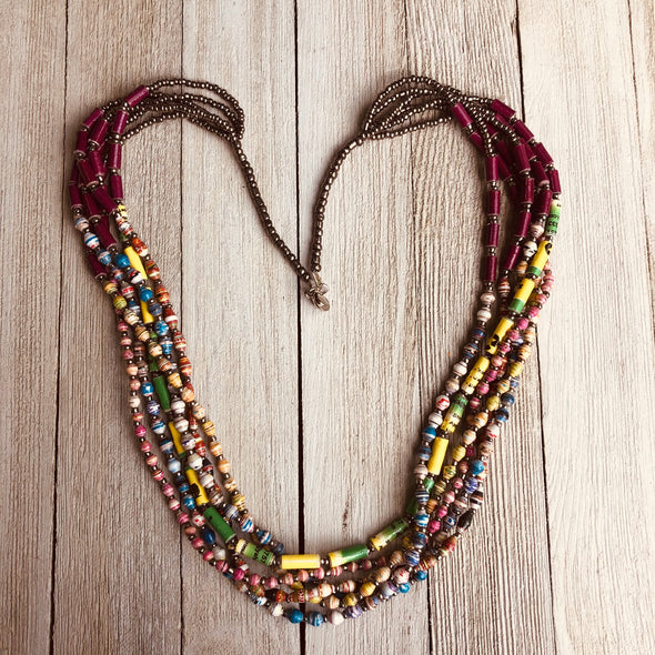 Mapenzi Handmade Beaded Multi Strand Necklace in a Bold Color Combination (Burgundy and Pastels)