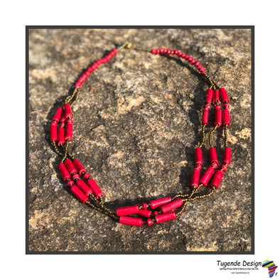 Kucheza Handmade Beaded Multi Strand Monochromatic Necklace Set with Earrings (Available in 5 Colors)
