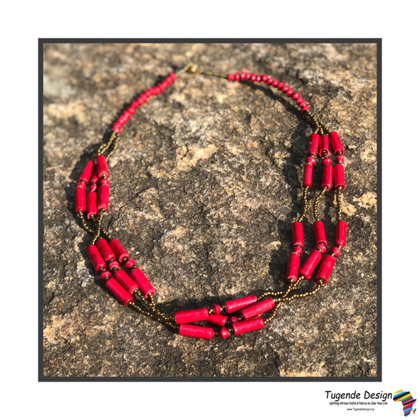 Kucheza Handmade Beaded Multistrand Necklace Set with Earrings (Available in 5 Colors)